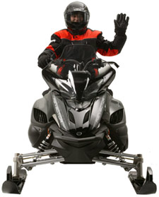 Snowmobiler hand signal for a right turn