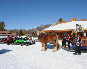snowmobilers outside a lodge with a horse-drawn sled