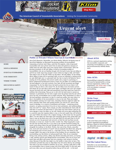 Public or Private? Where You Can & Can't Ride SnowTech Magazine, September, 2017 by Kevin Beilke, Editor